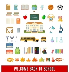 Set of flat school icons vector image