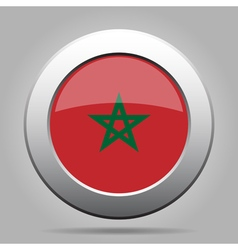 Metal button with flag of morocco vector