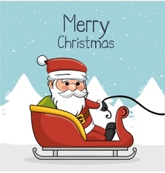 Greeting merry christmas with santa and sleigh vector
