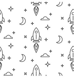space rocket scandinavian line style seamless vector image