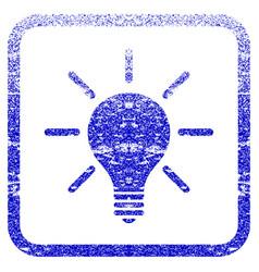 light bulb framed textured icon vector image