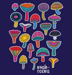 Mushrooms stickers set in hallucinogenic colors vector