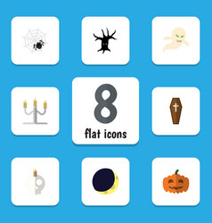 Flat icon halloween set of gourd candlestick vector