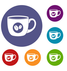 Cup of coffee icons set vector