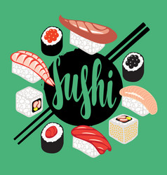 banner with a set of sushi and rolls vector image