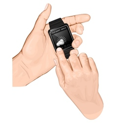 Hand hold smart-watch gesture tap vector