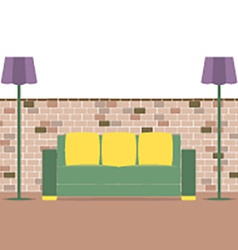Sofa with modern lamp on brick background vector