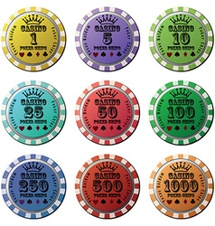 Poker chips set isolated white background vector