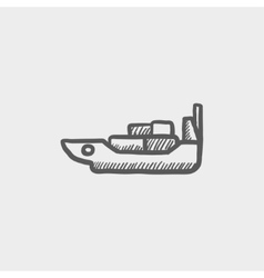 Cargo ship with container sketch icon vector