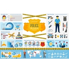 Set of police work infographic elements with icons vector