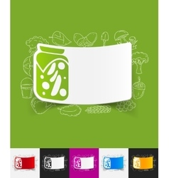 Pickled vegetables paper sticker with hand drawn vector