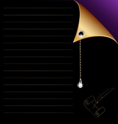 Black-purple paper with gold corner and crystal vector