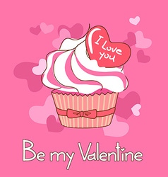 Card for valentines day with cupcake vector