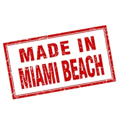 Miami beach red square grunge made in stamp vector
