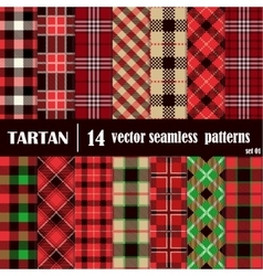 Seamless set tartan pattern vector