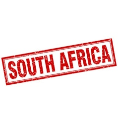 South africa red square grunge stamp on white vector