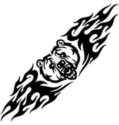 Bear and symmetric tribals - vector image