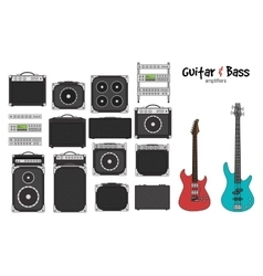 Electric guitar and bass amplifiers vector