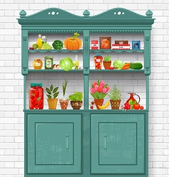 Vintage cupboard with delicious organic food and vector