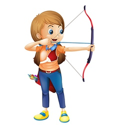 A young lady playing archery vector image