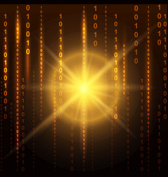 Abstract binary code on orange background of vector