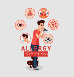 allergy symptoms concept vector image vector image