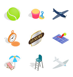 Ball game icons set isometric style vector