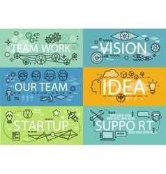 Banners Set Idea Startup Teamwork vector image vector image