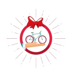 Bicycle gift prize badge icon happy vector image vector image