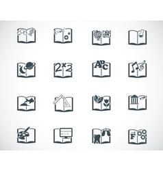 Black schoolbooks icon set vector