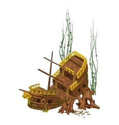 Broken old wooden ship surrounded by roots vector