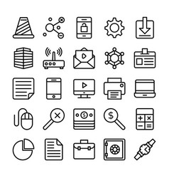 Business and office line icons 3 vector