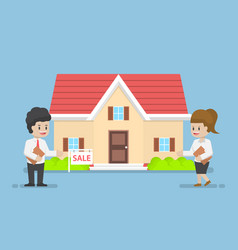businessman and businesswoman presenting house vector image