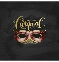 carnival lettering logo design with mask and hand vector image
