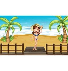 Cartoon beach girl vector