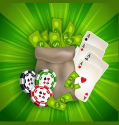 Casino banner with tokens cards and money bag vector