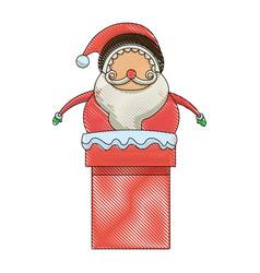 christmas santa claus character in chimney image vector image