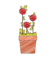 Color pencil drawing of roses planted with leaves vector