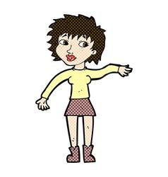 Comic cartoon friendly woman waving vector