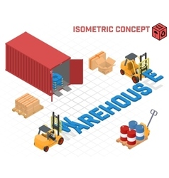 concept - loaders build the word warehouse vector image vector image