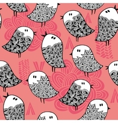 Creative seamless pattern with doodle birds vector image