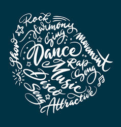 Dance concept hand written typography vector