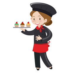 female baker holding cupcakes vector image