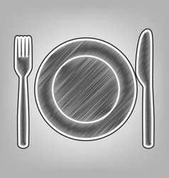 Fork knife and plate sign pencil sketch vector