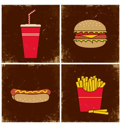 Four fast food vector image vector image