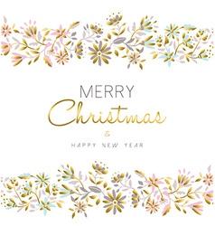 Gold flower seamless pattern for Christmas season vector image
