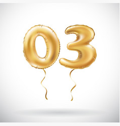Golden number 03 zero three metallic balloon vector