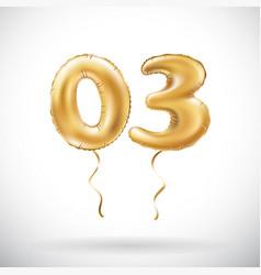 golden number 03 zero three metallic balloon vector image vector image