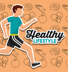 healthy lifestyle card man runner sport vector image