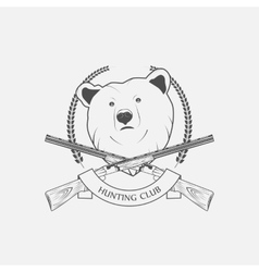 hunting icon with a bear and guns vector image vector image
